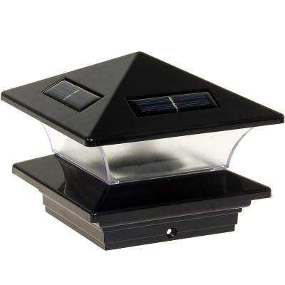 4 in. x 4 in. Solar Powered Integrated LED Black Plastic Post Cap Light