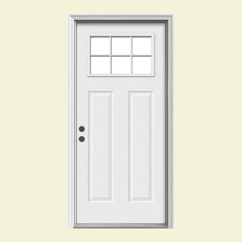 JELD-WEN 36 in. x 80 in. 6 Lite Craftsman Primed Steel Prehung Right-Hand Inswing Front Door w/Brickmould