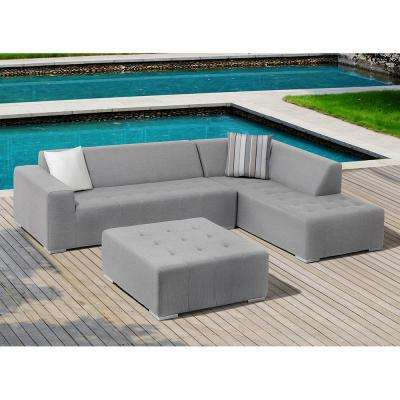 Eden 3 Piece Aluminum Outdoor Sectional Set With Cushions