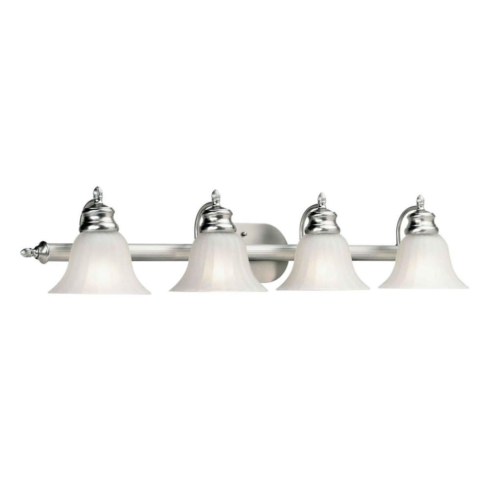 Talista 4 light brushed nickel bath vanity light with fluted satin etched glass cli frt5038 04 for Bathroom vanity tray satin nickel