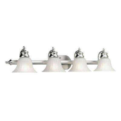 4-Light Brushed Nickel Bath Vanity Light with Fluted Satin Etched Glass