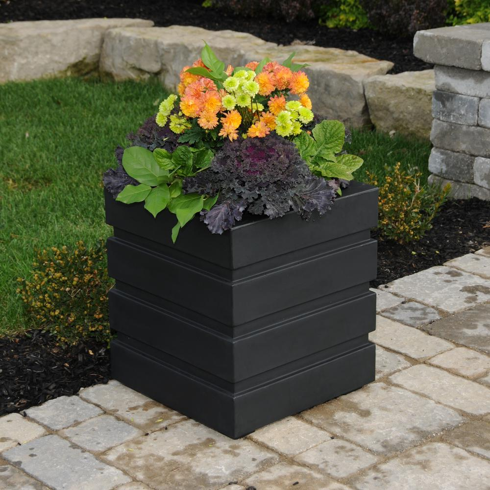 Freeport 18 in. Square Black Plastic Planter