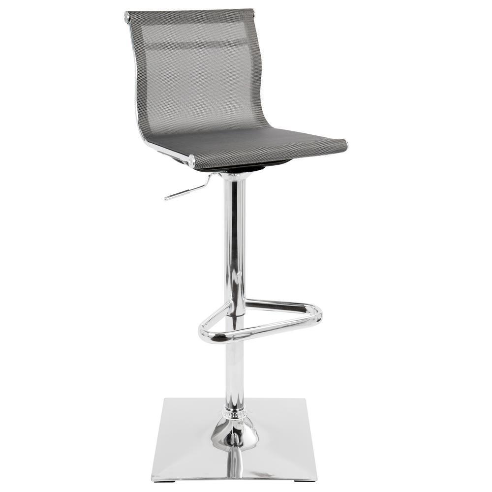 Lumisource Mirage Silver Adjustable Height Bar Stool Bs Tw