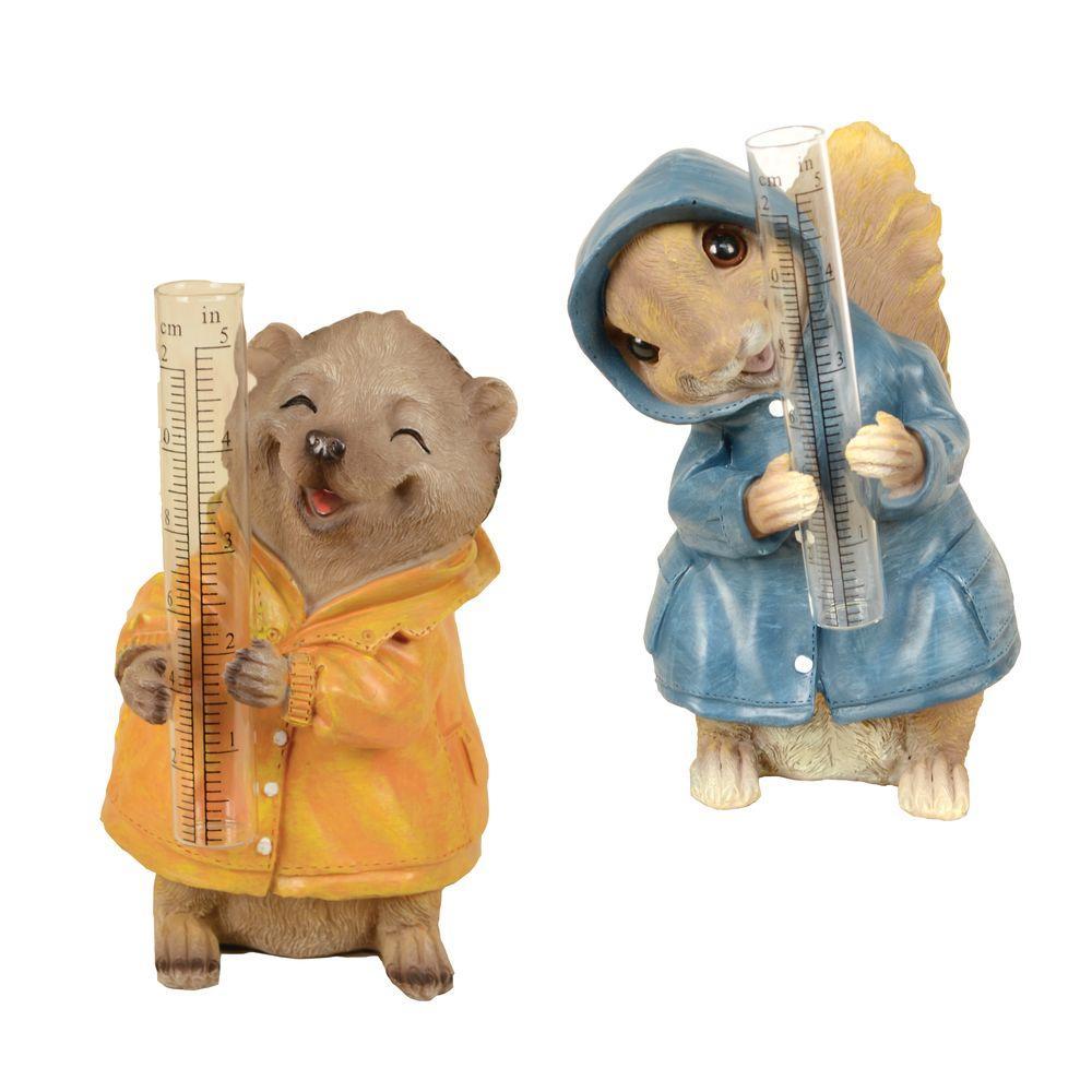 Squirrel and Hedgehog Fiber Clay Rain Gauge