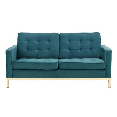 Loft 63 in. Gold Teal Velvet 2-Seater Loveseat with Square Arms