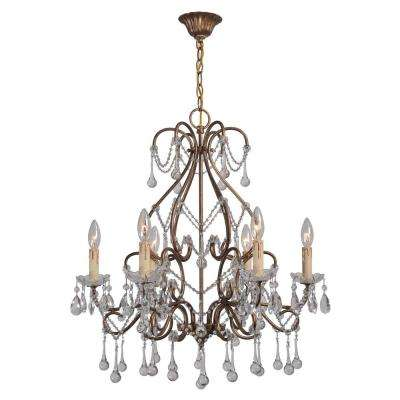 Grace Collection 6-Light Antique Gold Indoor Chandelier with Crystal  Teardrops - Gold - Chandeliers - Lighting - The Home Depot