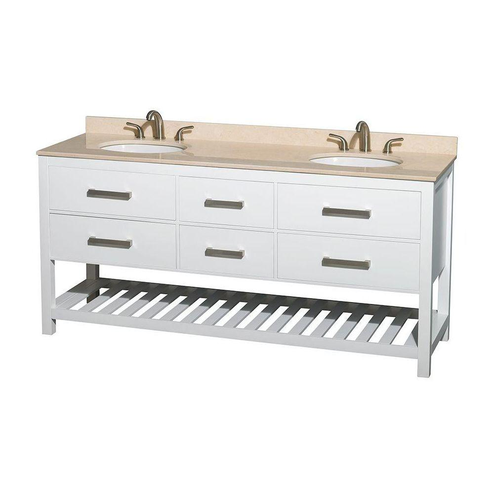Natalie 72 in. Double Vanity in White with Marble Vanity Top