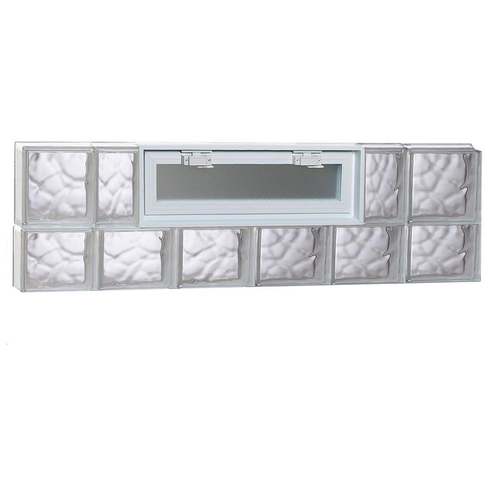 46.5 in. x 13.5 in. x 3.125 in. Wave Pattern Vented Glass Block Window