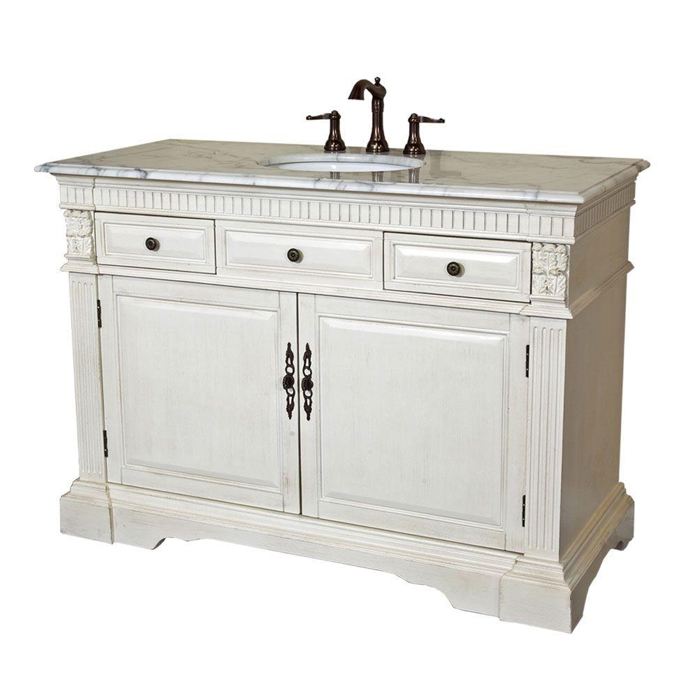 Bellaterra Home Seaham AW 50 in. Single Vanity in Antique White with Marble Vanity Top in White
