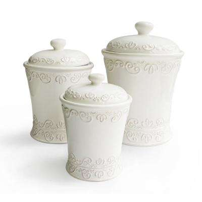 Bianca Scroll 3-Piece White Ceramic Canister Set with Lid