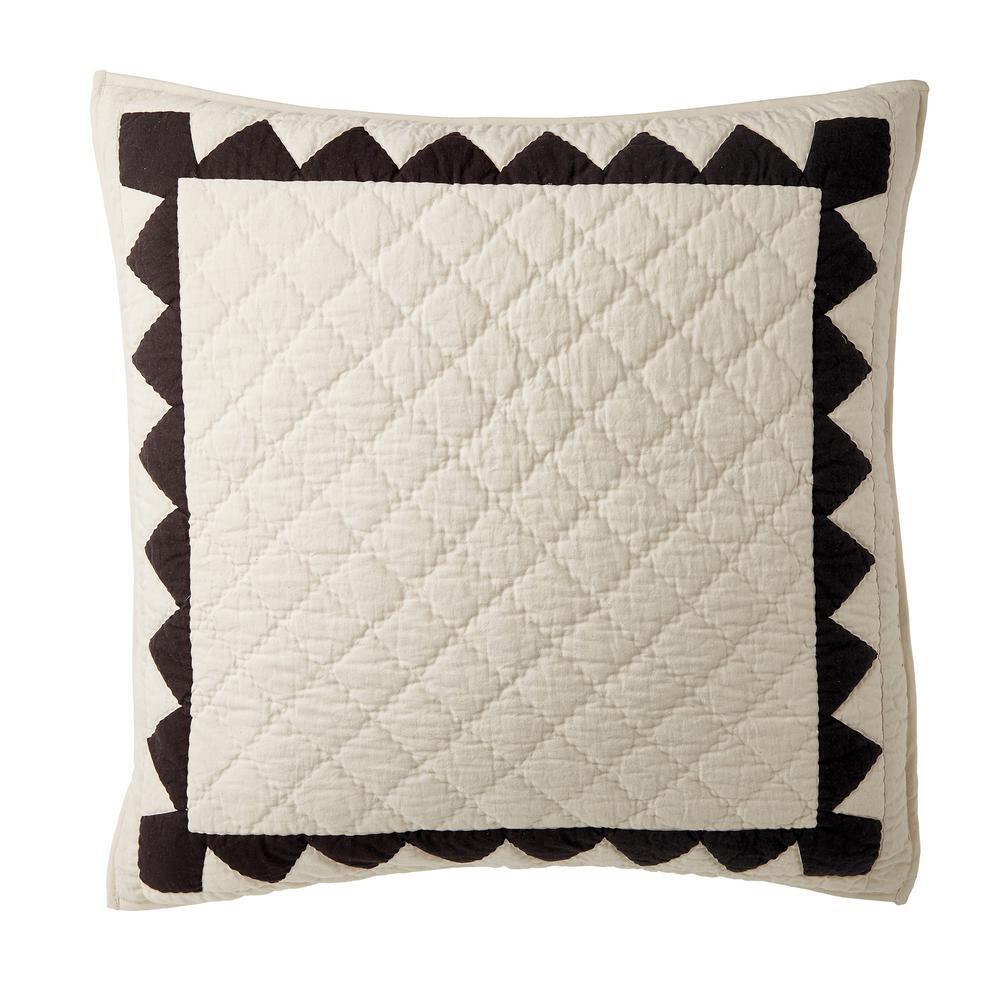 The Company Store Castleton Cotton Euro Sham in White/Black 50406F-E-WHI/BLACK