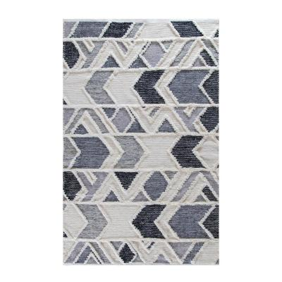 Slings and Arrows Ivory Gray and Blue 5 ft. x 8 ft. Area Rug