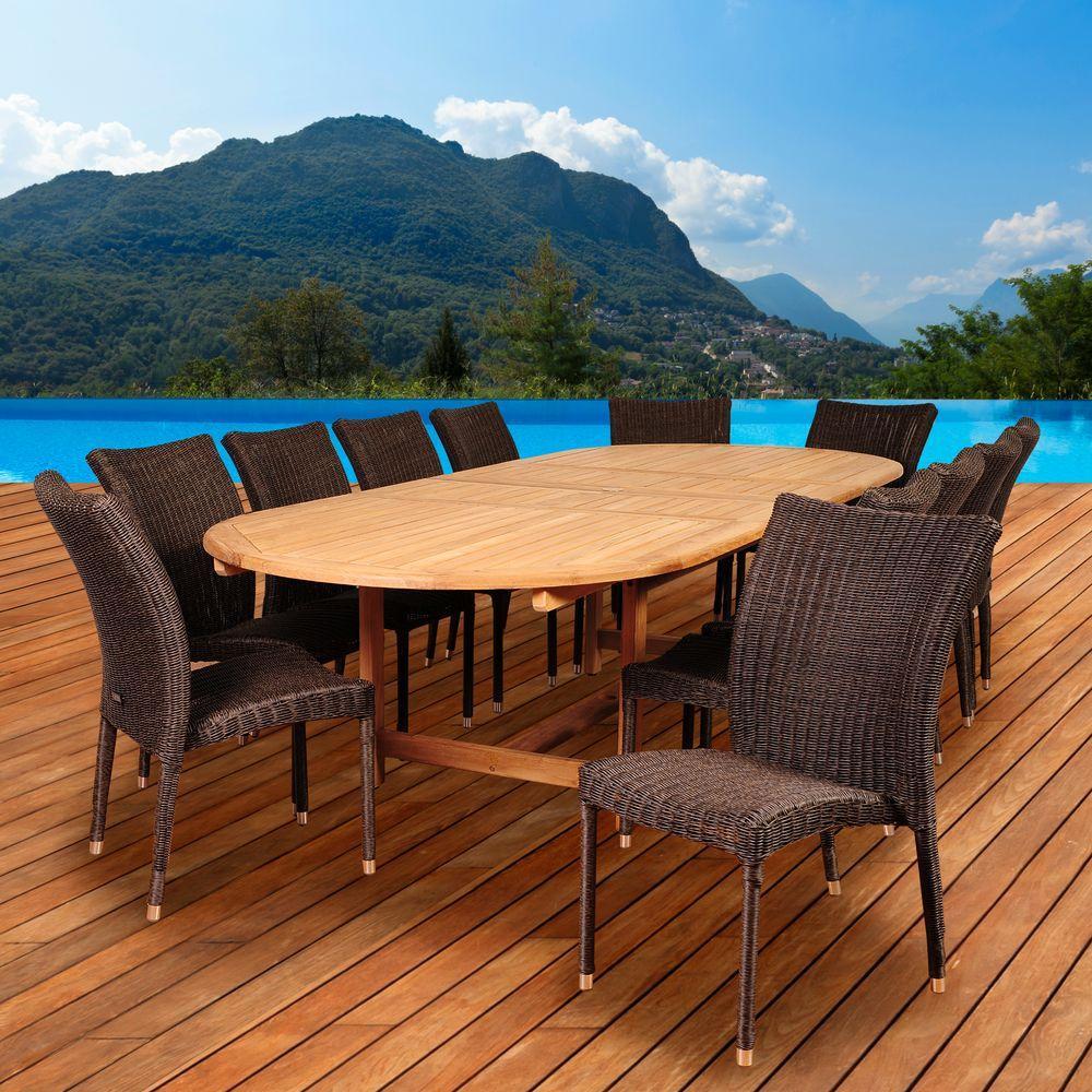 Osborne 13-Piece Teak/Wicker Double Extendable Oval Patio Dining Set
