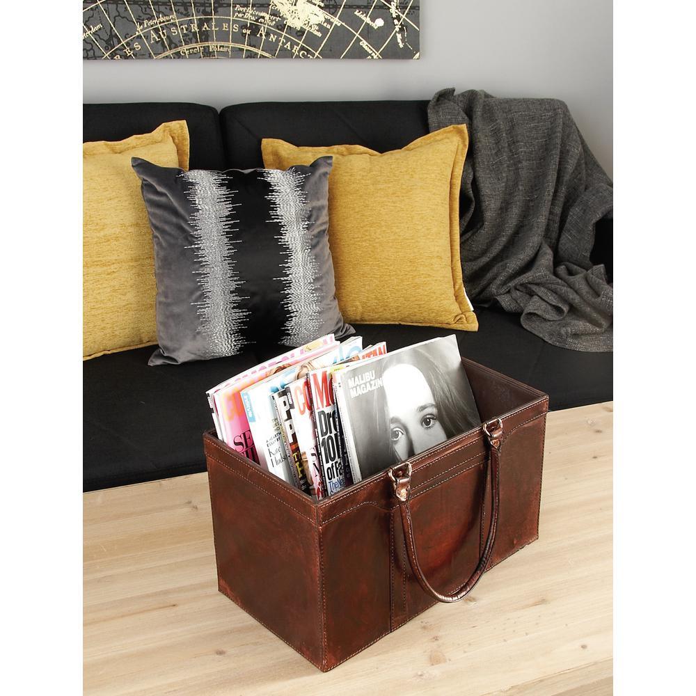 Matte Dark Brown Real Leather Rectangular Freestanding Magazine Holder