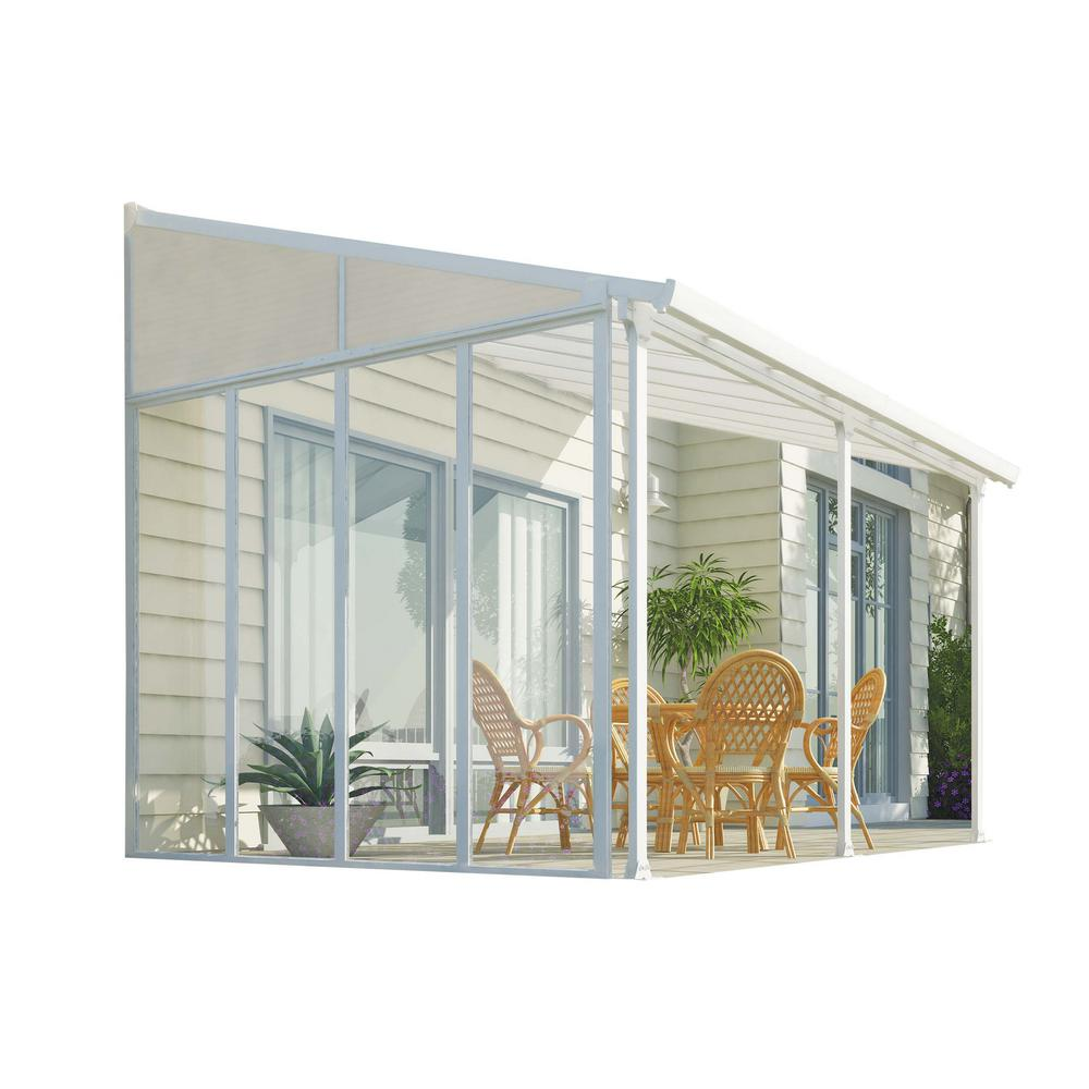Palram Feria 10 Ft X 14 Ft White Patio Cover Awning With Sidewall