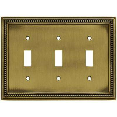 Beaded Decorative Triple Switch Plate, Tumbled Antique Brass