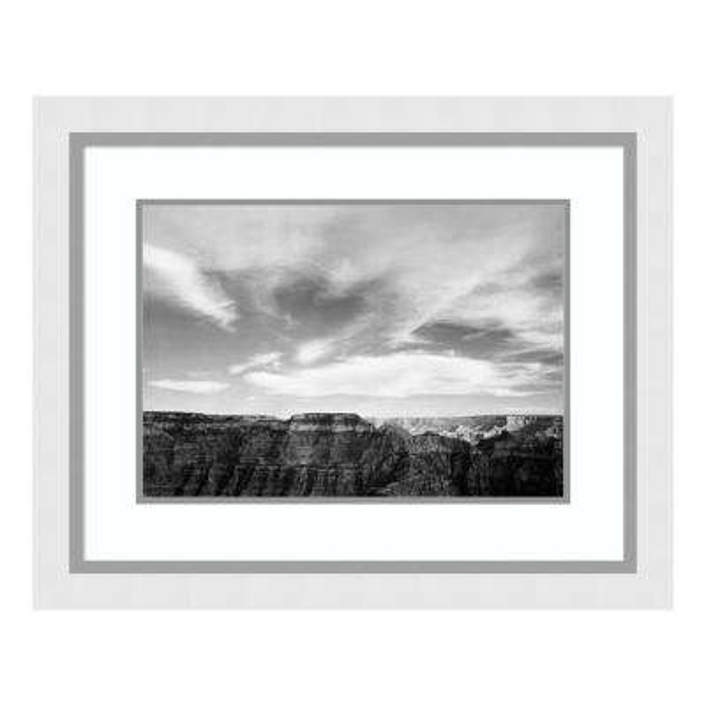 """Canyon edge, low horizon, clouded sky, Grand Canyon National Park, Arizona, 1941"" by Ansel Adams Framed Wall Art"