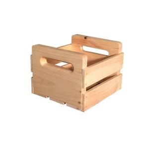 crates pallet in x in natural pine wine crate carrier 67343 the home depot. Black Bedroom Furniture Sets. Home Design Ideas