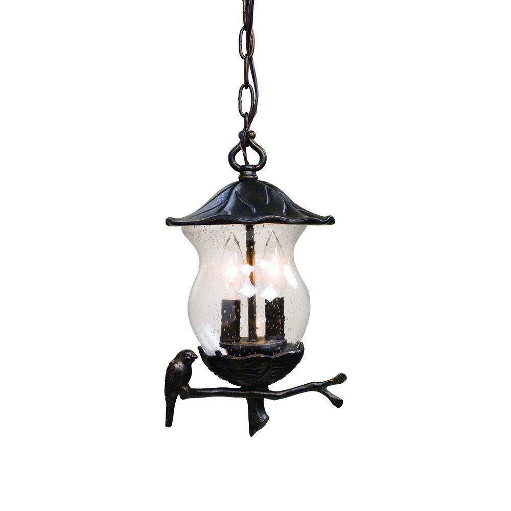 Acclaim Lighting Avian Collection 2-Light Outdoor Black Gold Light Hanging Lantern