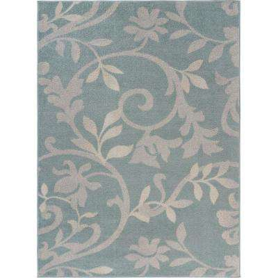 Meadow Sky Blue 7 ft. 9 in. x 9 ft. 5 in. Tropical Botanical Vines Area Rug