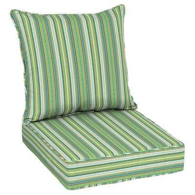 Striped Green Outdoor Cushions Patio Furniture The Home Depot