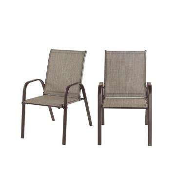 Mix and Match Dark Taupe Steel Sling Outdoor Patio Dining Chair in Riverbed Taupe Tan (2-Pack)