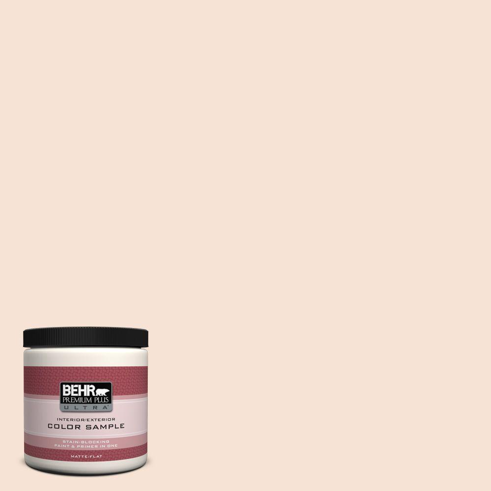 BEHR Premium Plus Ultra 8 oz. #RD-W13 Almond Kiss Matte Interior/Exterior Paint and Primer in One Sample