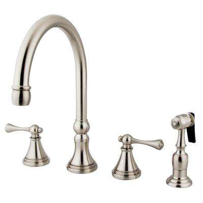 2-Handle Standard Kitchen Faucet with Side Sprayer in Satin Nickel