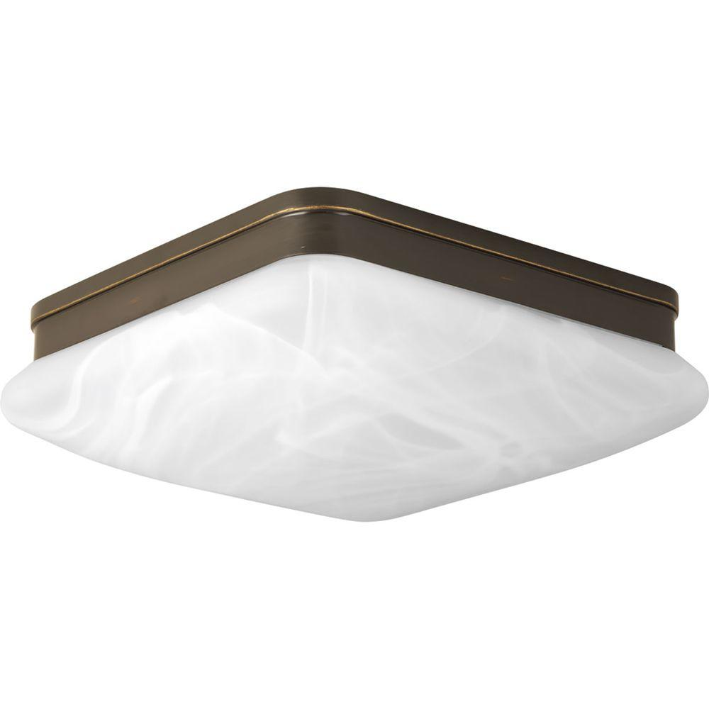 Appeal Collection 2-Light Antique Bronze Flushmount with Alabaster Glass