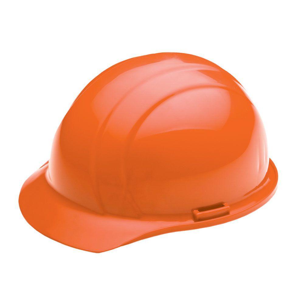 4 Point Nylon Suspension Mega Ratchet Cap Hard Hat in Orange