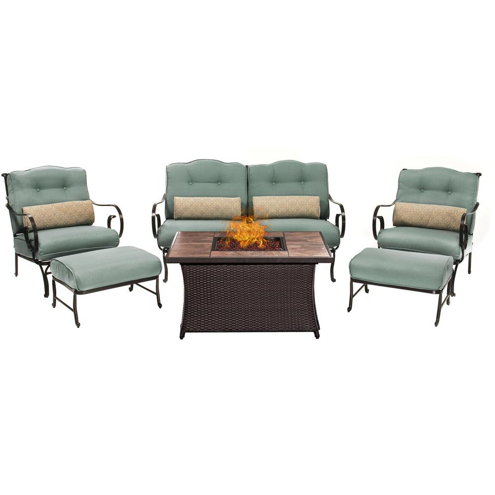 Oceana 6-Piece Patio Seating Set with Tile-Top Fire Pit and Ocean