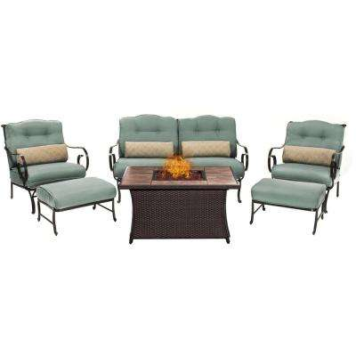 Oceana 6-Piece Patio Seating Set with Tile-Top Fire Pit and Ocean Blue Cushions