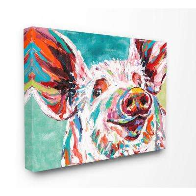 "24 in. x 30 in. ""Brightly Painted Pig"" by Carolee Vitaletti Canvas Wall Art"