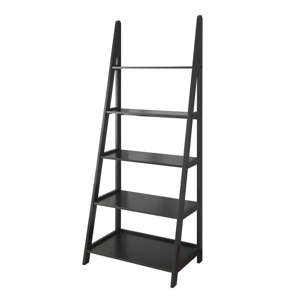72 in. Black Wood 5-shelf Ladder Bookcase