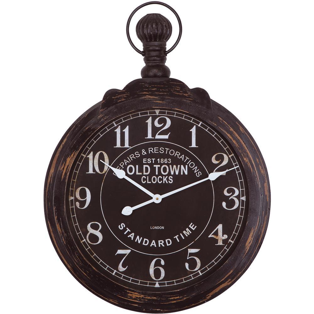 33 in. x 24 in. Circular Iron Wall Clock in Black