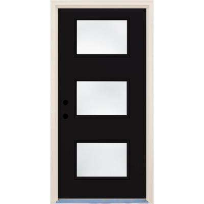 36 in. x 80 in. Right-Hand Inkwell 3 Lite Clear Glass Painted Fiberglass Prehung Front Door with Brickmould