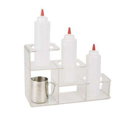 Clear Acrylic 3-Compartment Bottle Holder for Syrup Wine and Dressing