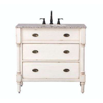 Fallston 37 in. W x 22 in. D Bath Vanity in Weathered Ivory with Granite Vanity Top in Grey with White Sink