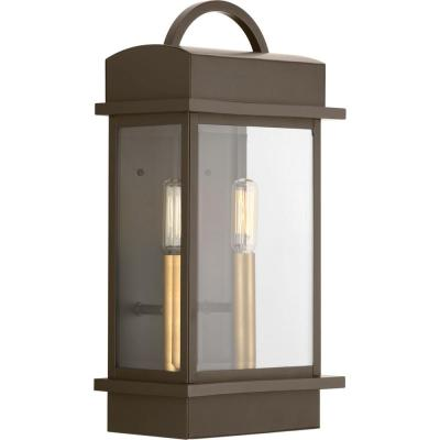 Santee Collection 2-Light Antique Bronze 15.25 in. Outdoor Wall Lantern Sconce