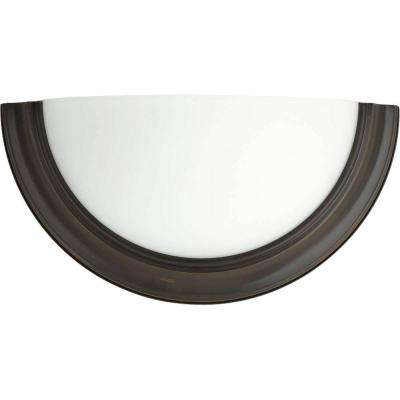 Eclipse 1-Light Antique Bronze Fluorescent Wall Sconce with Satin White Glass