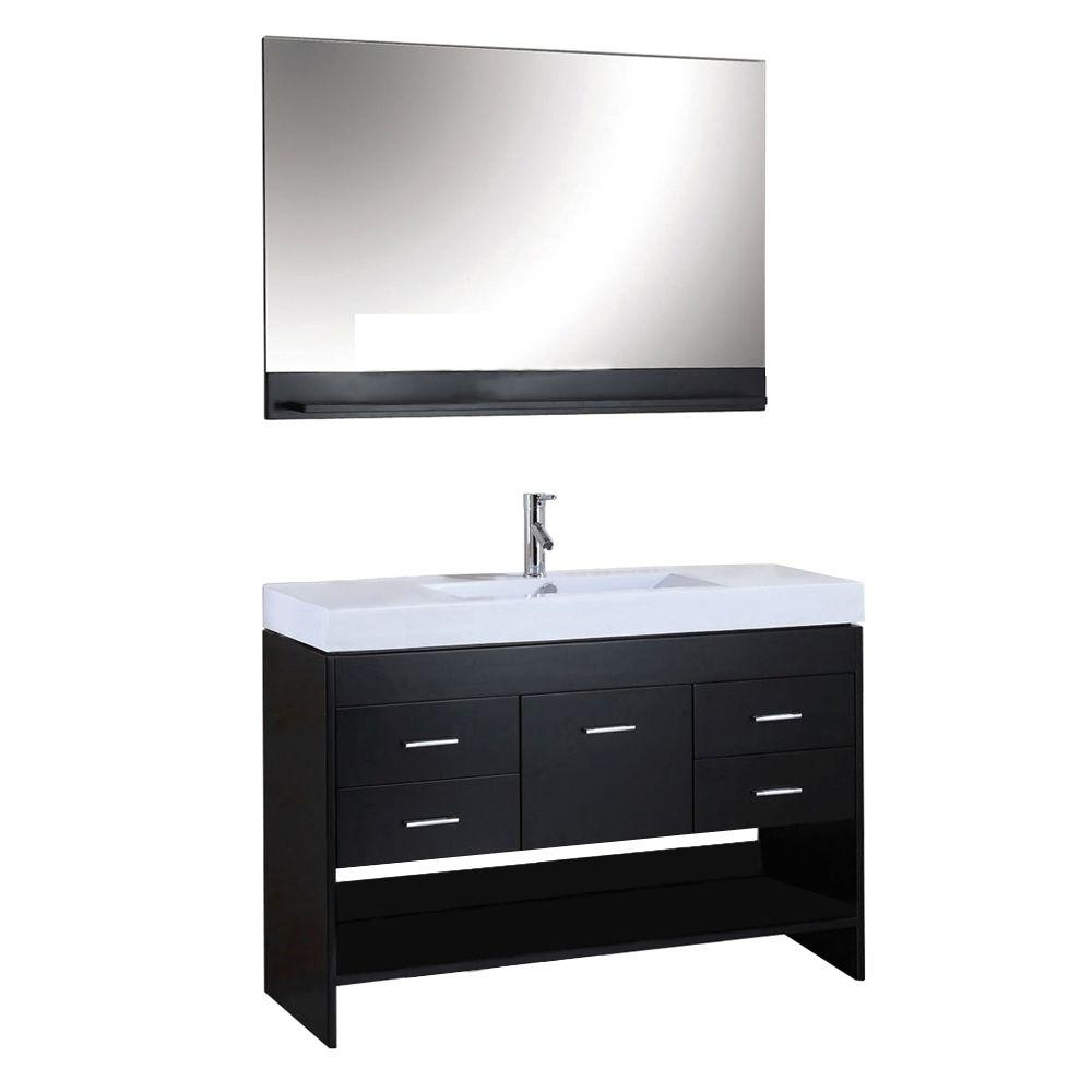 Virtu USA Gloria 48 in. Single Basin Vanity in Espresso with Ceramic Vanity Top in White with White Basin and Mirror