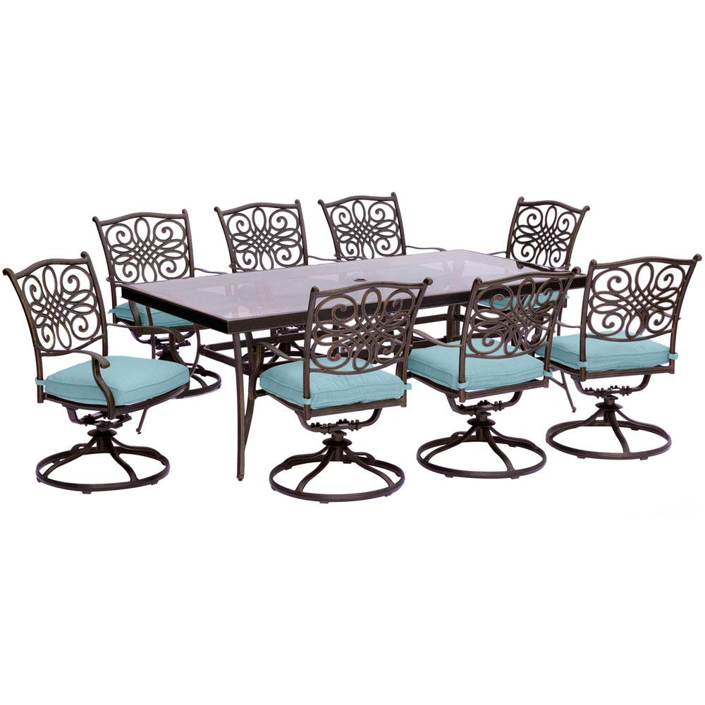 Cambridge Seasons 9 Piece Aluminum Outdoor Dining Set With Blue Cushions Extra Large Gl Top Table