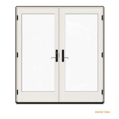 72 in. x 80 in. W-4500 Contemporary Brown Clad Wood Right-Hand Full Lite French Patio Door w/White Paint Interior