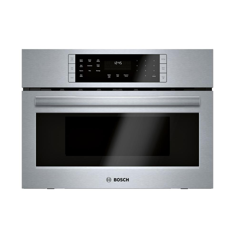 Bosch 800 Series 27 in. 1.6 cu. ft. Built-In Convection Speed Microwave in Stainless Steel with SpeedChef Cooking
