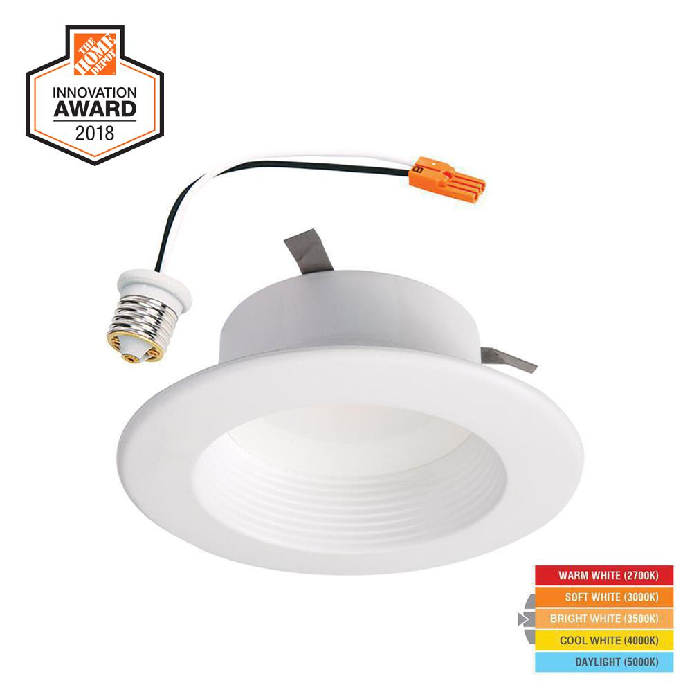 White Integrated Led Recessed Ceiling Light Retrofit Trim With Selectable Cct