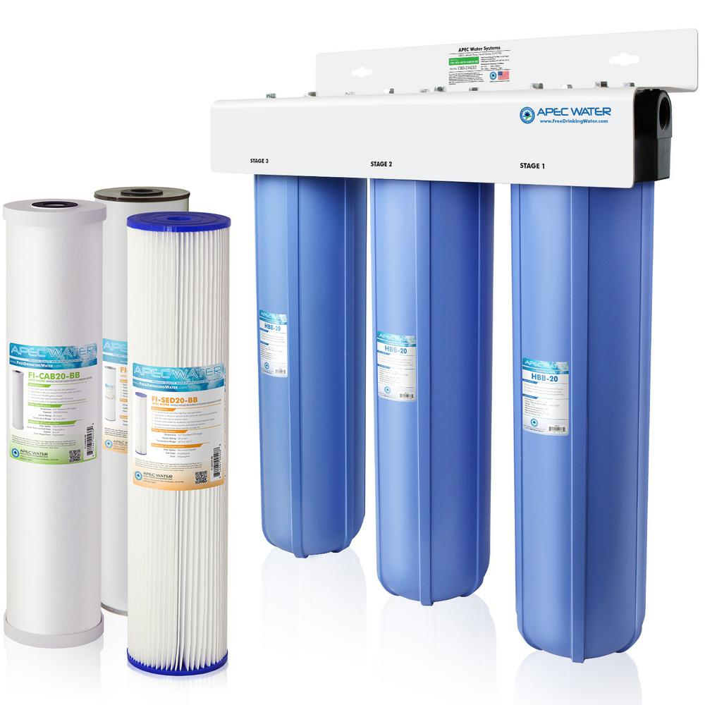 APEC Water Systems Whole House 3-Stage Water Filtration System Iron, Sediment and Chlorine For Multi-Purpose