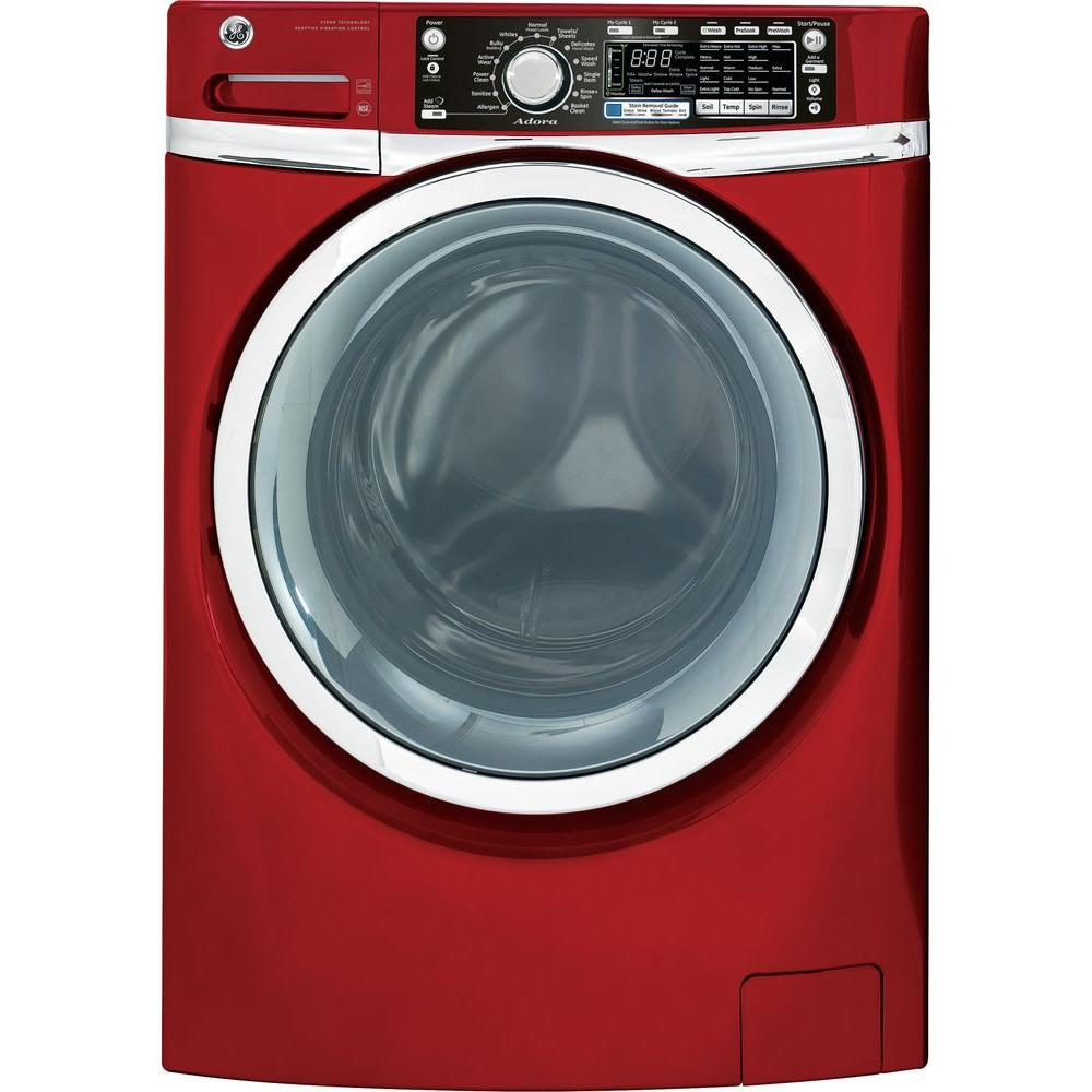 GE Adora 4.8 DOE cu. ft. High-Efficiency Front Load Washer with Steam in Ruby Red, ENERGY STAR