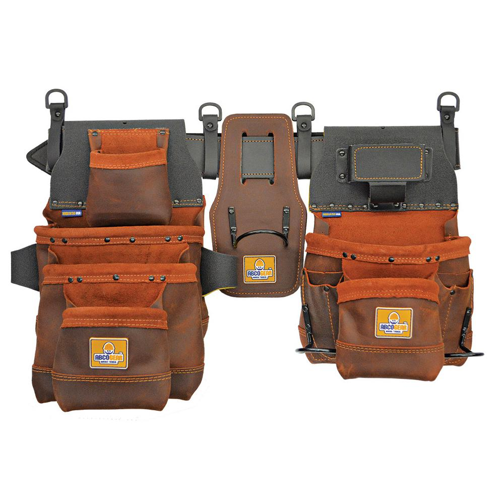 20 in. 12-Pocket Elite Series Pro Framer's Tool Belt Left-Handed Hammer