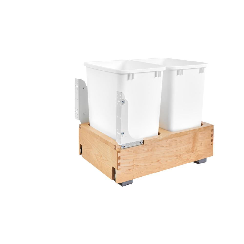 Rev-A-Shelf 19.25 in. H x 14.25 in. W x 21.75 in. D Double 35 Qt. Pull-Out Bottom Mount Wood and White Waste Container
