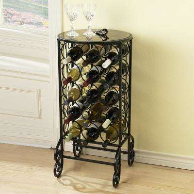 15 Bottle Black Floor Wine Rack